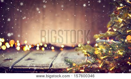 Christmas Holiday Background, Christmas table background with decorated Christmas tree and garlands.
