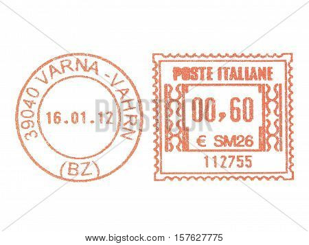 ITALY - CIRCA 2011: Vintage looking Red postage meter circa 2011 in Italy stock photo