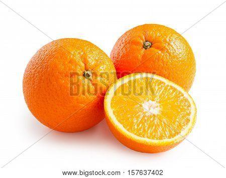 Oranges. Ripe oranges isolated on white background. Orange in a cut
