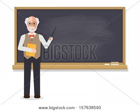 Senior teacher professor standing in front of blackboard teaching student in classroom at school college or university. Flat design people characters. stock photo