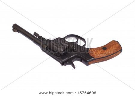 Russian revolver Nagant isolated on a white background stock photo