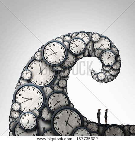 Overwhelmed schedule and overtime working hours concept as people looking at a giant wave made of time clock objects with 3D illustration elements. stock photo