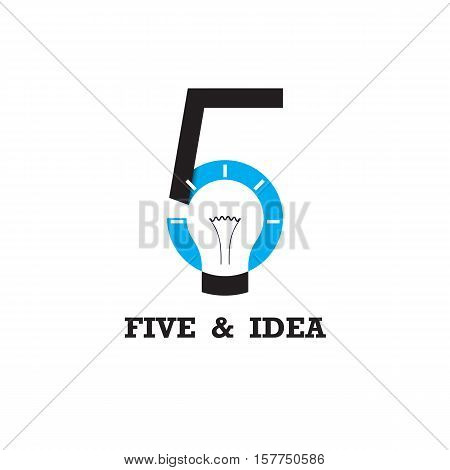 Five number icon and light bulb abstract logo design vector template.Business and education logotype idea concept.Vector illustration stock photo