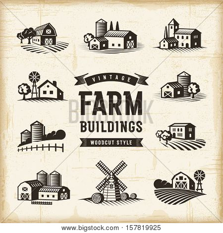 Vintage Farm Buildings Set. Editable EPS10 vector illustration in retro woodcut style with clipping mask and transparency. stock photo