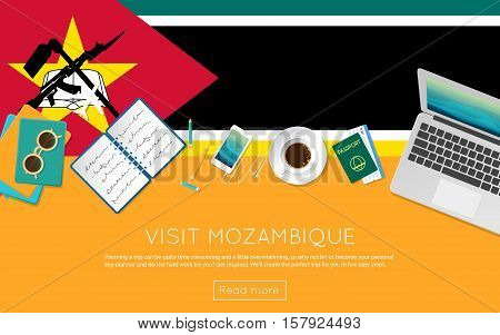 Visit Mozambique concept for your web banner or print materials. Top view of a laptop sunglasses and coffee cup on Mozambique national flag. Flat style travel planninng website header. stock photo