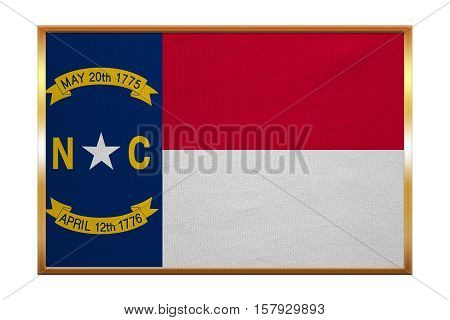 Flag of the US state of North Carolina. American patriotic element. USA banner. United States of America symbol. North Carolinian official flag golden frame fabric texture illustration. Accurate size stock photo