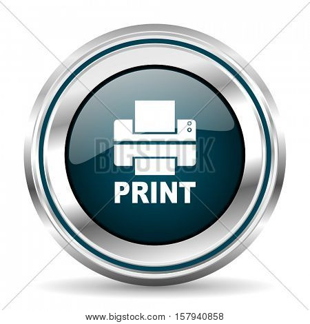 Printer vector icon. Chrome border round web button. Silver metallic pushbutton. stock photo
