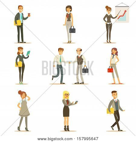 Business, Finance And Office Employees In Suits Busy At Work Set Of Cartoon Businessman And Businesswoman Characters Illustrations. Collection Of Vector Drawings With People Working In Financial And Marketing Spheres Wearing Dress Code Clothing.