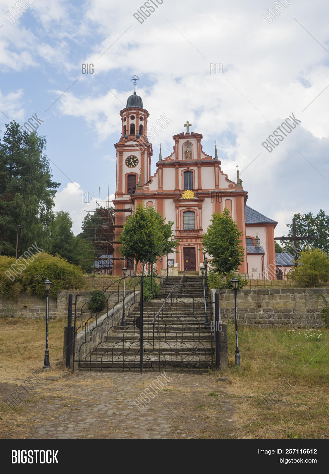 Lusatian,Magdalene,Marenice,Mountains,ancient,architecture,baroque,blue,bohemia,building,christian,christianity,church,cloud,cloudy,curves,czech,decorated,entrance,europe,historical,landmark,mary,old,pink,portal,religion,religious,republic,saint,sky,stairs,style,summer,sunny,temple,tower,travel,vibrant,wall,way,white