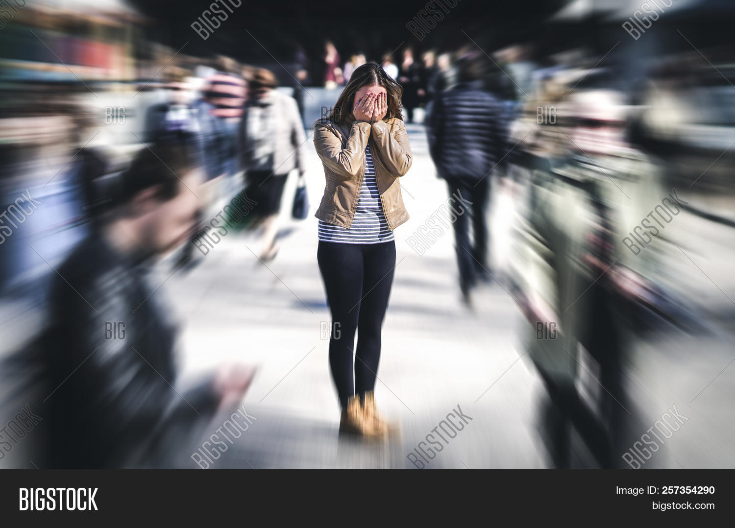 Panic Attack In Public Place. Woman Having Panic Disorder In City. Psychology, Solitude, Fear Or Men
