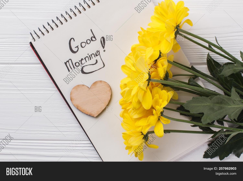 Yellow Sunchoke Flowers And Good Morning Wish White Wood