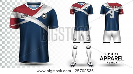 Soccer Jersey and Football Kit Presentation Mockup Template, Front and Back View Including Sportswear Uniform, Shorts and Socks and it is Fully Customization Isolated on Transparent Background. stock photo