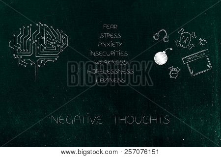 positive and negative attitude conceptual illustration: circuit brain next to list of stressed attitudes and fear-themed icons stock photo