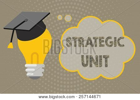 Handwriting text writing Strategic Unit. Concept meaning profit center focused on product offering and market segment. stock photo
