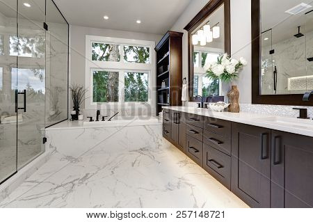 Master Modern Bathroom Interior In Luxury Home With Dark Hardwood Cabinets, White Tub And Glass Door