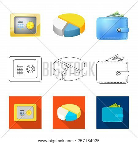 Vector design of bank and money sign. Set of bank and bill stock symbol for web. stock photo