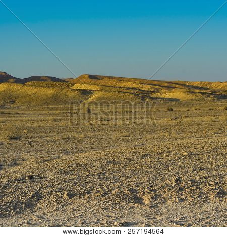 Loneliness and emptiness of the rocky hills of the Negev Desert in Israel. Breathtaking landscape and nature of the Middle East. stock photo
