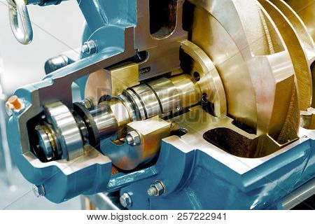 Horizontal water pump, cross section. The internal device is shown. stock photo