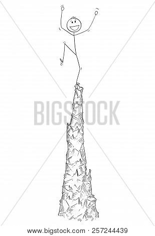 Cartoon stick drawing conceptual illustration of man or businessman celebrating the success on the top of the crag or mountain. stock photo