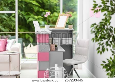 Reception desk in beauty salon. Stylish interior stock photo