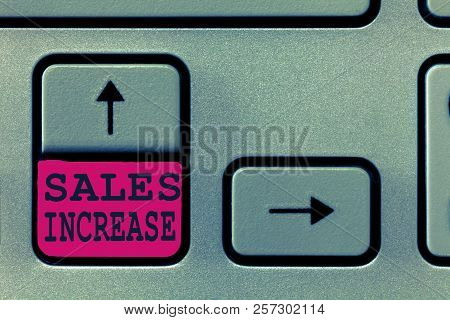 Text sign showing Sales Increase. Conceptual photo Grow your business by finding ways to increase sales stock photo