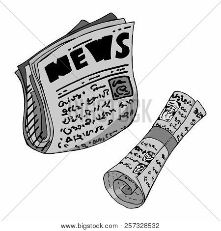 Newspaper. Vector illustration of a newspaper with news news. Hand drawn newspaper with news. stock photo