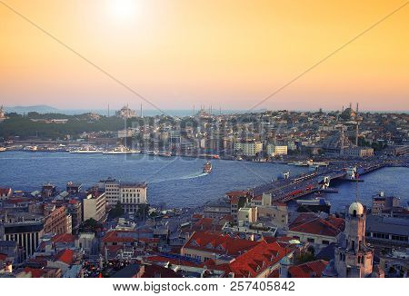 Istanbul skyline with Hagia Sophia and Blue Mosque as seen from Galata Tower stock photo