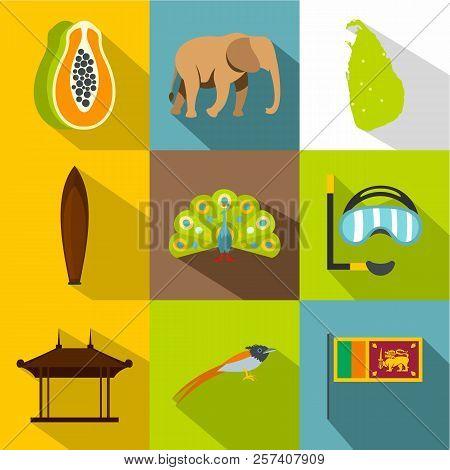 Holiday in Sri Lanka icons set. Flat illustration of 9 holiday in Sri Lanka icons for web stock photo