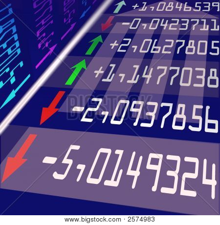 list of stock exchange prices growing and falling stock photo