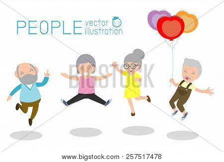 Active and happy old senior couple jumping, Group of elderly people jumping together, cartoon old people dancing with joy, flat vector illustration stock photo