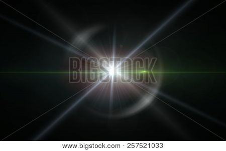 Digit lens flare with bright light in black background used for texture and material.Lens flare or Star flare in black background.Modern nature flare effect stock photo