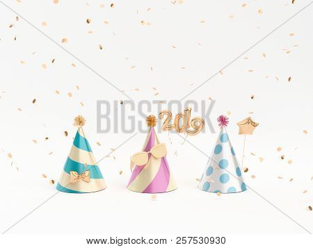 Golden Party hats and party accessories on white. 3d rendering. stock photo