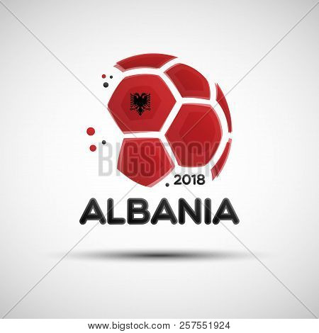 Football championship banner. Flag of Albania. Vector illustration of abstract soccer ball with Albanian national flag colors for your design stock photo