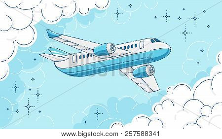 Plane passenger airliner flying in the sky surrounded by clouds, beautiful thin line 3d vector illustration. stock photo