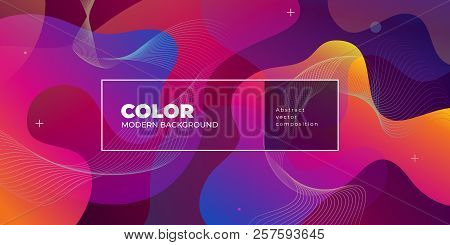 Color Gradient Background Design. Abstract Geometric Background With Liquid Shapes. Cool Background