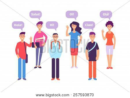 Foreign language concept. Students greeting in english french german japanese. Language class and foreign languages vector background. Education translation phrase, student say hello illustration stock photo