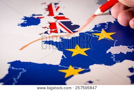 Hand Drawing A Red Line Between The Uk And The Rest Of Eu, Brexit Concept.
