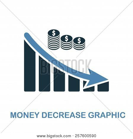 Money Decrease Graphic icon. Monochrome style design from diagram icon collection. UI. Pixel perfect simple pictogram money decrease graphic icon. Web design, apps, software, print usage. stock photo