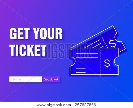 Ticket icon vector illustration in the flat style isolated on a modern gradient background. Get your ticket online. stock photo