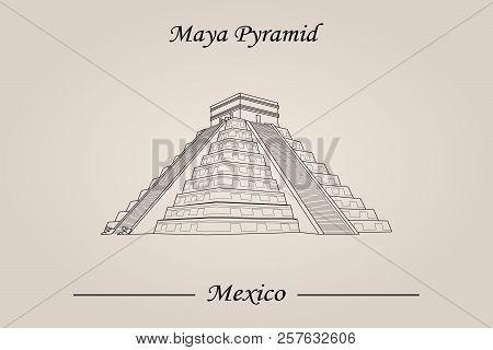 Maya Pyramid, Temple Of Kukulkan. Vector Illustration, World Attractions