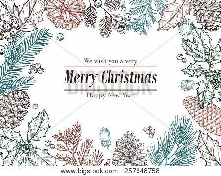 Christmas Vintage Invitation. Winter Fir Pine Branches, Pinecones Floral Border. Christmas, Xmas Bot