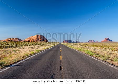 Empty scenic highway in Monument Valley, Arizona, USA stock photo