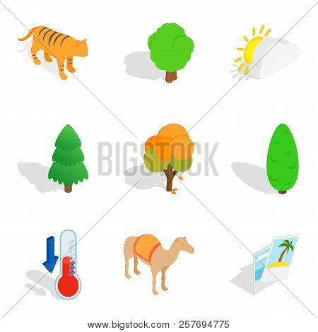 Wildlife sanctuary icons set. Isometric set of 9 wildlife sanctuary icons for web isolated on white background stock photo