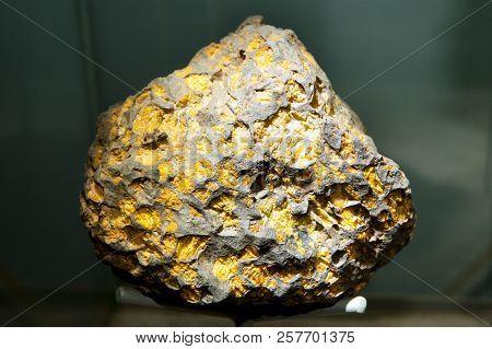 Imilac Pallasite Meteorite on Display - Chile stock photo