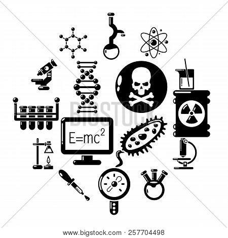 Chemistry laboratory icons set. Simple illustration of 16 chemistry laboratory icons for web stock photo