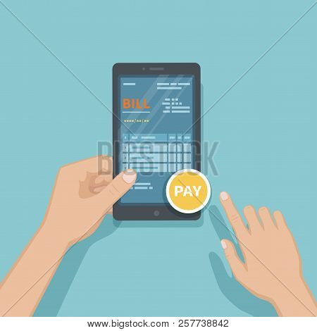 Man pay bill using smartphone. Online invoice paying, bookkeeping, accounting via phone. Man holding mobile phone with bill on screen. Fast payment of goods, service, bank, restaurant via phone Vector stock photo