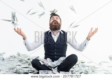 Businessman Is Happy With His Money. Banknotes, Cash Dollars Fly In Air. Business Success, Richness&