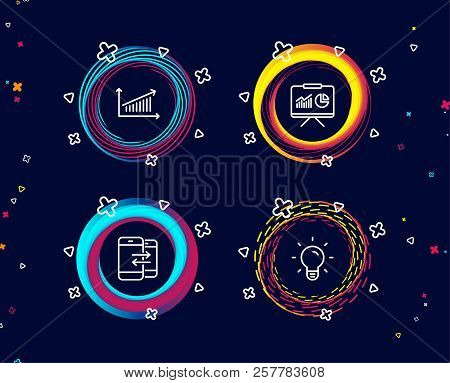 Set of Presentation, Chart and Phone communication icons. Light bulb sign. Board with charts, Presentation chart, Incoming and outgoing calls. Lamp energy.  Circle banners with line icons. Vector stock photo