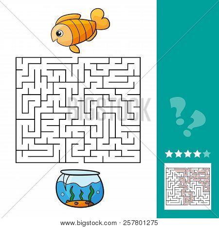 Cute fish educational maze game. Vector illustration of labyrinth educational game with cute cartoon fish for children - with solution - Help fish get back to the aquarium stock photo