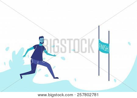 Businessman running cross finish line leadership concept business man target motivation success horizontal flat stock photo